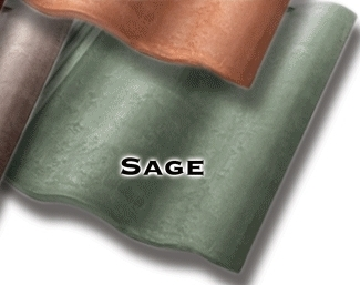 Synthetic Mission Roof FIELD Tiles, SAGE color (1) - Quarrix Composite Mission / Spanish Roofing FIELD Tiles (Double Roman), SAGE Color. Price/Tile. (special color; leadtime 1-3 weeks)