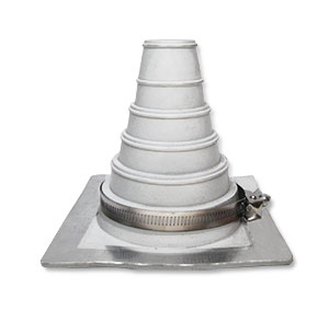 #2 Deck-Mate Gray EPDM Boot with Stainless Steel Clamp - #2 Deck-mate Gray Color EPDM Boot With Stainless Steel Clamp. 6.3 X 6.3 Inch Base, 5.6 inch High, 1.2 inch Open Top. Fits 1-1/4 to 3 inch Pipes. Price/Each. (15 boots/case)