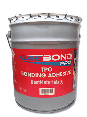Pro TPO Bonding Adhesive (5G) - WEATHERBOND PRO TPO BONDING ADHESIVE, SOLVENT BASED. 5-GALLON CAN. PRICE/CAN. (special order, Flammable item. UPS Ground or Truck Shipment Only. Cannot ship to SCAQMD or resticted VOC areas)