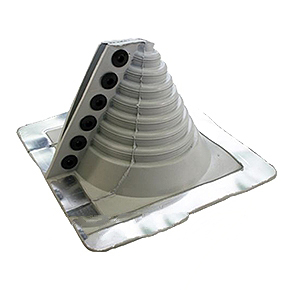 #1 Retrofit Master Flash *Gray* EPDM Square-Base Flashing - #1 RETROFIT MASTER FLASH **GRAY** COLOR EPDM FLASHING. Fits 1/2 to 4 inch Round Pipes. Price/Each. (Aztec RF101GP; Order in full boxes of 5 for discounts).