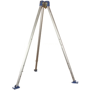 6-11 ft. Adjustable Aluminum Tripod, Bracket, Integral Pulley - 6-11 ft. Adjustable Aluminum Tripod with Bracket and Integral Pulley, Click-Lock Adjustment Pins. 3 additional anchor-points for use with 3-way SRL's and confined space winches. Price/Each.