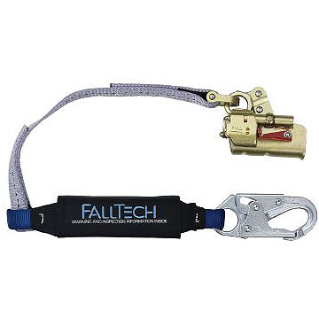 Falltech 8355, Hinged Rope Grab With Shock Absorbing Lanyard - Falltech 8355, professional-duty hinged, self-tracking rope grab, manual park feature, permanently attached 3 foot Clearpack shock-absorbing lanyard. Price/Each. (shipping leadtime 1-2 business days)
