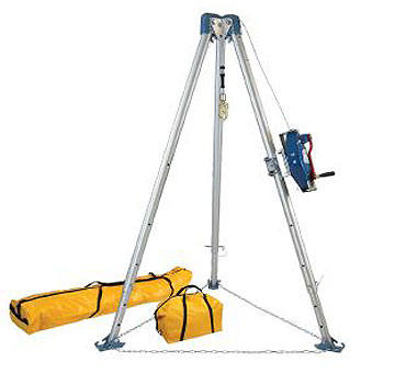 Confined Space Tripod Kit (7275 Tripod, 7281S Steel 3-Way SRL) - FallTech Confined Space 7500S 60 foot Tripod Kit with 7275 Tripod; 7281S Stainless Steel 3-Way Self-Retracting Lifeline; 7280 and 7282 Storage Bags. Price/Kit. (Shipping leadtime: 3-5 days)