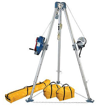 Confined Space Tripod Kit (7275 Tripod, 7281S 3-Way SRL, 7297S Winch) - 60 Ft. Tripod Kit with 7275 Tripod; 7281S 3-Way Self-Retracting Lifeline; 7297S Stainless Steel Winch; 7421 Pulley; 8450 Carabiner; Tripod Storage Bag, 7280 and 7282 Storage Bags. Price/Kit. (Shipping leadtime: 3-5 days)