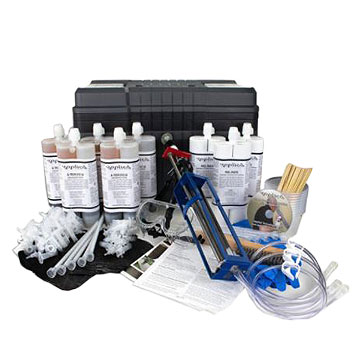 Concrete Wall Crack Repair Kit, Epoxy Injection, 30 ft. - Concrete Wall Crack Repair Kit, Epoxy Injection for up to 30 ft. Uses a Peel-Removable Port/Crack Cover Adhesive. Meets ASTM C-881. Includes injection foam, ports, port paste, caulk gun etc. Price/Kit. (UPS Ground shipping only)