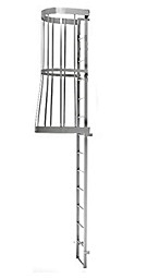 Fixed Wall-Mount Ladder w/ Cage, for Roof Hatch (15-30 ft) SPECIFY SIZE