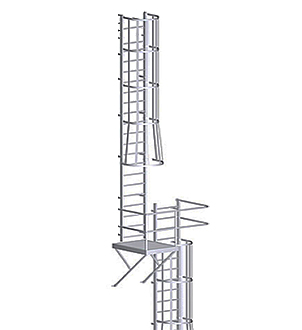 Fixed Wall-Mount Ladder w/ Cage & Platform, for Roof Hatch (31-50 ft) - Alaco #560-CP Fixed Wall-Mount Ladder with Cage & Rest Platform, for Roof Hatch Access. Features heavy duty aluminum construction and mill finish. Price/Each. (Special order; see ordering notes in detail view)