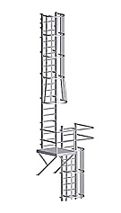 Fixed Wall-Mount Ladder w/ Cage & Platform, for Roof Hatch (31-50 ft)
