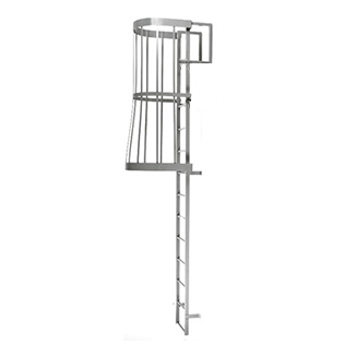 Caged Fixed Wall-Mount Ladder w/ Rooftop Handrails (15-30 ft.) - Alaco #561-C Caged Type Wall-Mount Ladder w/Rooftop Handrail (15-30 ft), Exterior Grade for Rooftop Access. Heavy duty aluminum construction with mill finish. Price/Each. (Special order, see ordering notes in detail view)