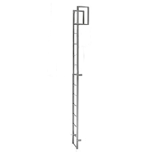 Fixed Wall-Mount Ladder w/ Rooftop Handrail (5-15 ft) - Alaco #561 Roof Access Wall-Mount Ladder Handrail over Roof, Fixed Mount, Exterior Grade. Provides permanent safe exterior roof access. Features HD aluminum construction, mill finish. Price/Each. (Special order; see ordering notes in detail view)