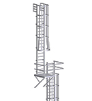 Alaco 561-CP Fixed Wall-Mount Ladder w/ Cage & Platform (31-60 ft.)