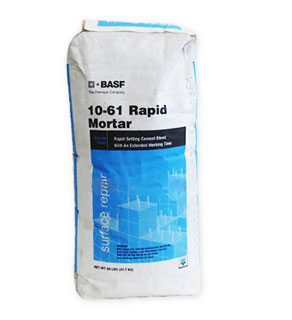 MasterEmaco T 1061 (10-61 Rapid Mortar) w/ Extended Work Time, 50lb - BASF MasterEmaco T 1061, Formerly 10-61 Rapid Mortar, with Extended Working Time. A Rapid Set Mortar for Horizontal Concrete Surfaces. BASF # 55405340. 50-lb/22.7kg Bag. Price/Bag. (see detail view for ordering notes)