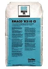 Emaco R310 CI, Surface Repair / Patching Mortar, (55 Lb Bag) - EMACO R310 CI, CONCRETE SURFACE REPAIR / PATCHING MORTAR. POLYMER MODIFED MORTAR WITH CORROSION INHIBITOR. PATCHING / RESURFACe DISTRESSED HORIZONTAL SURFACES & SPALL REPAIR. 55 LB/BAG (YIELDS .45 CU.FT). PRICE/BAG. (special order, see detail view notes)