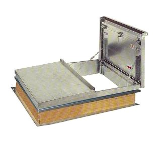 4 x 4 ft. Double-Door Equip. Access Roof Hatch, Aluminum, 2 in. insul. - 4 x 4 foot Double Door Equipment Access Roof Hatch, Aluminum, 2-inch Polyiso Insulation, 11 Gauge Mill Finish Aluminum, Curb Mount. Price/Each. (special order; leadtime 3-4 weeks)