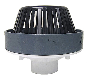 10 in. PVC Roof Drain, 3 in. Solvent Weld Outlet, 2 in. Overflow Guard - 10 in. PVC Roof / Deck Drain with 2 in. High Overflow. Solvent Weld Drain outlet fits 3 inch Schedule 40 Drain Pipes. Molded PVC body, epoxy coated cast iron clamp ring / gravel stop, 2 in. high overflow guard, polyurethane dome, hardware. Price/Each.
