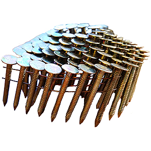 1-1/2 Coil Roofing Nails, Ring Shank, Heavy-EG Plated (7200) - 1-1/2 x .120 Ring Shank Coil Roofing Nails, Heavy EG plated for superior corrosion resistance and pull out. Wire Collated, 120/Coil, 60 Coils/Box. 7200 Nails/Box. Price/Box.