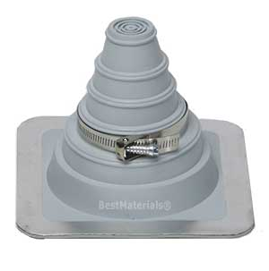 #1 Deck-Mate Gray EPDM Boot With Stainless Clamp - #1 DECK-MATE GRAY GRAY COLOR EPDM BOOT WITH STAINLESS STEEL CLAMP. 4.8 x 4.8 BASE, 3-7/8 HIGH, CLOSED TOP. FITS 1/4 - 2 inch (6.3mm to 50.8mm) PIPES. PRICE/EACH BOOT. (15 per case)