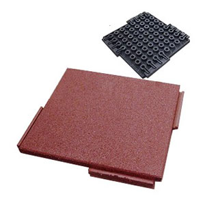 Interlocking Rubber Deck Paver Terra Cotta 24x24x2 In