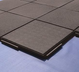Economy Interlocking Rubber Paver / Roof Walkway Pad, 24x24x2 In.   Economy  Heavy