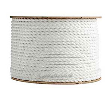 1/2 inch x 600 ft. White Polypropylene Rope - 1/2 inch x 600 Foot 3-Strand Twisted Monofilament White Polypropylene Rope, UV Stabilised, Flexible, 3,780 lb. Break Strength. Price/Each.