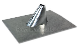 3/4 inch size Galv. IP Jack (vent pipe flashing) - 3/4 inch size Galvanized Steel Adjustable Roof Vent Pipe Flashing (IP Jack). Fits flat to 5/12 Pitch Roofs. Price/Each.