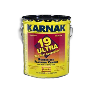 Karnak #19 Ultra Wet/Dry Rubberized Flashing Cement (3G) - Karnak #19 Ultra Rubberized Flashing Cement (For Wet or Dry Conditions, Vertical/Horizonatal). 3-Gallon Pail. PricePail. (70 pails/pallet)