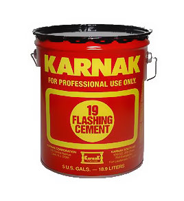 Karnak #19 Standard Flashing Cement, SPECIFY Grade (3G) - Karnak #19 Standard Flashing Cement, Asbestos Free (Dry Condition Plastic Cement). 3-Gallons/Pail. Price/Pail. (specify winter or summer grade before adding to cart; ground shipment only)