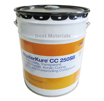 MasterKure CC 250SB (Kure-N-Seal 25LV), Concrete Sealant (5G) - BASF MasterKure CC 250SB (formerly Kure-N-Seal 25LV). A Semi-Gloss Low-Viscosity Concrete Sealant, Dustproofing & Curing Agent. 5-Gallon Pail. Price/Pail. (601 VOC, shipping restricted; flammable; ground shipment only)