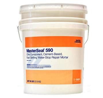 MasterSeal 590 (Waterplug) Hydraulic Repair Mortar (50 Lb) - MasterSeal 590 (formerly called Waterplug). A one-component quick-setting, Portland-cement-based hydraulic repair mortar. NSF 61 Grade. 50 Lb/Pail. Price/Pail.