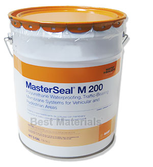 MasterSeal M 200 (Sonoguard) Slope-Grade Waterproofing Base Coat (5G) - MasterSeal M 200 Slope Grade Waterproofing Base Coat (formerly Sonoguard Base Coat). Gray color 1-Part Polyurethane Membrane. A thick material for higher sloped areas. 5-Gallon Pail. Price/Pail. (203 g/L VOC, not shipable to S.CALIF SCAQMD areas)