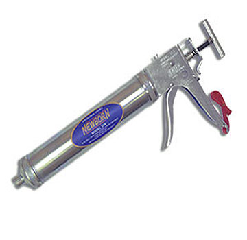Newborn 416 Bulk/Sausage Caulk Gun, 6:1 Thrust,16 oz Bulk/10 oz Sausage - Newborn 416 Bulk/Sausage Caulking Gun. 6:1 Thrust Ratio, Ratchet Drive. Dispenses 16 oz. Bulk or 10 oz. Sausage Packs (small ones). Includes Chemical Resistant Hytrel Cup, 3/8 Oval Dispensing Nozzle, Ring Cap and 3 Cones. Price/Each.