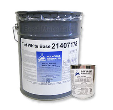 Polyglaze 400C Top Coat, SPECIFY COLOR, 2-Part (5G) - Polyglaze 400C Waterproofing Topcoat Kit (4.75 gallon tintable topcoat + 1 can of color pigment). Price/Kit. (SPECIFY COLOR before adding to cart; some colors have up to 1 week leadtime; UPS ground only; 250 VOC, not shippable to SCAQMD restricted areas)