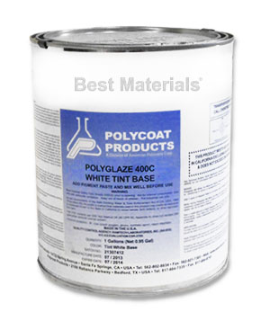 Polyglaze 400 Top Coat, WHITE, 2-part kit (1G) - POLYGLAZE 400 WHITE COLOR WATERPROOFING TOP COAT KIT (0.8G TINTBASE + 1/2 PINT WHITE COLOR PACK). PRICE/KIT. (340 VOC, not shippable to VOC restricted areas)