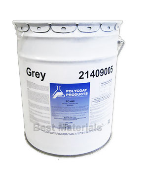 Polycoat PC-440 Base Coat, GRAY Color (5G) - POLYCOAT PC-440 WATERPROOFING BASE COAT, SINGLE COMPONENT, GRAY COLOR. 5 GAL PAIL, PRICE/PAIL. (250 VOC; UPS Ground shipping only)