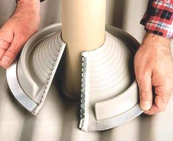 Retrofit XL Round EPDM Pipe Flashing Boot, GRAY (1) - RETROFIT EXTA-LARGE ROUND, GRAY COLOR, EPDM PIPE FLASHING BOOT. FITS 9-1/4 TO 16-3/4 INCH OD ROUND PIPES. PRICE/EACH. (DekTite RFS4)
