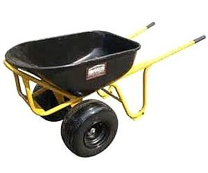 Heavy Duty Steel Wheelbarrow with Two 18 x 8.5 Pneumatic Tires - Roofmaster 509152 Heavy-Duty All Steel Wheelbarrow with Two 18x8.5 Pneumatic Tires and Front Dump Plate/Cage. Easily transports and dumps a lot of weight without tipping or roof damage. Price/Each. (assembled/oversize; truck shipping only).