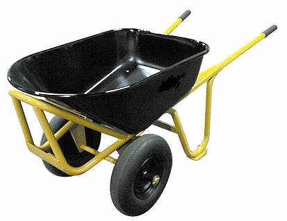 Long Handle Steel Wheelbarrow W 2 No Flat Tires