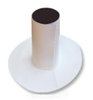 Split TPO/PVC Pipe Flashing, 4-inch, (specify OPTIONS) - 4-inch TPO/PVC FlashWrap with Snaplock Clamp, Split Pipe Flashing for 4-inch Pipe Size Penetrations, 4 inch Round Skirt at Base, with 8 inch High Riser, .060 TPO/PVC. Price/Each. (order from detail view; see special ordering notes)