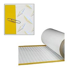 TPO Walkway Pad, WHITE w/Yellow Border, 34 inch x 50 Ft Roll - TPO Walkway Pad / Protection Pad. WHITE Diamond Plate Pattern with 2 inch Yellow Safety Border, Heat Weldable TPO. 34 inches Wide x 50 Foot Roll. Price/Roll. (shipping lead time 1-3 days)