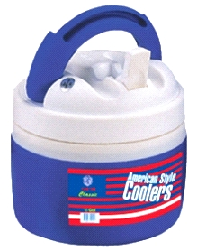 1/2 GALLON WIDE-MOUTH LOW-PROFILE WATER COOLER JUG - 1/2-GALLON WATER COOLER JUG. POPULAR WIDE-MOUTH, LOW PROFILE DESIGN. INSULATED, WARM/COLD CAPABLE WITH SPOUT AND SCREW-ON LID, BLUE COLOR BODY/WHITE LID. PRICE/EACH.