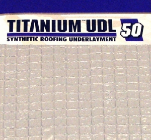 Titanium UDL-50 Roofing Underlayment, 10-SQ Roll (4x256 ft.) - TITANIUM UDL-50, 50-YEAR SYNTHETIC ROOFING UNDERLAYMENT. RATINGS: MIAMI-DADE, FLORIDA BUILDING, ICC-ESE, CLASS-A FIRE RATED. 4x256 FT. ROLL (10 SQ). PRICE/ ROLL. (25 rolls/pallet; UPS or Truck Shipping, special freight available)