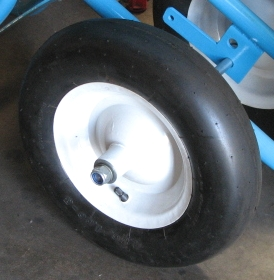 4.80/4.00-8 Pneumatic Tire on Steel Rim,  5/8 Bearings - 4.80/4.00-8 PNEUMATIC TIRE / RIM WITH 5/8 INCH BEARINGS. WHEELBARROW TIRE. 15 DIAMETER x 3 INCH WIDE SMOOTH RUBBER TIRE ON STEEL RIM. PRICE/EACH.