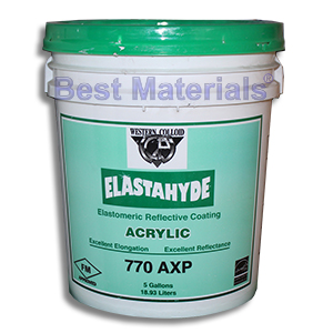 Elastahyde 770 White Elastomeric Acrylic Roof Base Coat (5G) - WESTERN COLLOID #770 AXP, ELASTAHYDE ELASTOMERIC ACRYIC ROOF BASE COAT. WHITE COLOR. PONDING WATER RATED. FOR ROOFS INCLUDING FOAM, METAL, ASPHALT AND APP MODIFIED BITUMEN ROOFS. ROLL-ON GRADE. 5-GALLON PAIL. PRICE/PAIL.