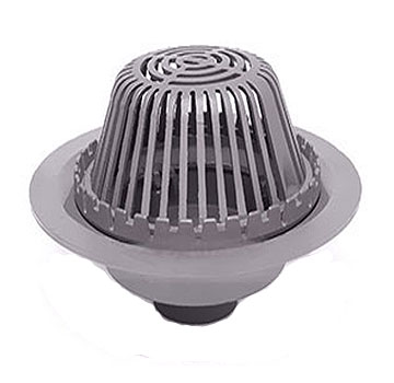 Wade 3008 Series Roof Drain Kit, Cast Iron, 8 in., NH - Wade 3008 8 inch Complete 11-1/2 in. Dome Cast Iron Roof Drain Kit, With 19 inch Flange, Flashing Ring, Gravel Stop, and Cast Iron Dome. No-Hub Outlet. Price/Kit.
