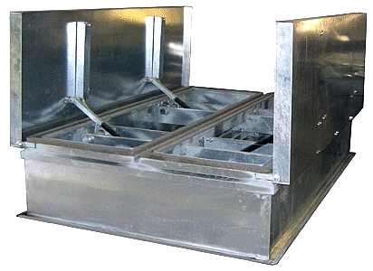 6 Ft X 10 Ft Roof Smoke Vent, Galv., UL/FM Approved - Roof Smoke Vent / Fire Vent, 6x10 Feet, Dual Doors of Galvanized Steel, Galvanized Steel Curb Base, UL & FM Approved. aka BIG SMOKEY. Made in USA by Milcor. Price/Each. (truck shipment only)
