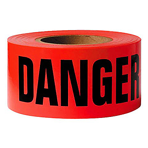 Red DANGER Barricade Tape, 1000 ft.,  2-MIL, 8-rolls - RED -DANGER- BARRICADE TAPE 3 INCH x 1000 FEET, 2-MIL. 8 ROLLS/CASE. PRICE/CASE.
