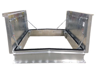 5 x 11 ft. Double Leaf Equipment Access Roof Hatch, Galv. - 5 ft. x 11 ft. DOUBLE-LEAF DOOR EQUIPMENT ACCESS ROOF HATCH, PRIMER PAINTED GALVANIZED 14 GAUGE STEEL, CURB MOUNT. PRICE/EACH. (special order item; 2-4 week leadtime; use FreightQuote Shipping)