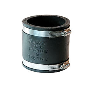 Drain Coupling, 4 to 4 in. Straight Adaptor, PVC Rubber - 4 to 4 Inch Drain Coupler / Connector / Reducer. Adapts 4 to 4 Inch pipes, with 2 Stainless Steel Clamps. Fernco 1056-44. Heavy Duty PVC Rubber. For Roof Drains, Sewer pipes etc. Price/Each. (shipping lead time 1-3 business days)