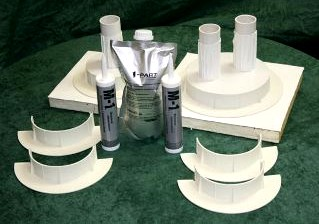 E-Curb 9 in. ID Round Curb Kit, WHITE Color - Chem Link E-curb 9-inch Id Round Pipe Flashing Curbs, Complete Kit In White. Kit Has 2-pair 9-inch Id White Molded 2-piece Interlocking Curbs, (2) 1/2g Pouches White 1-part Pourable Sealer,(2) 10-oz Tubes White M-1 Sealant, 1/2-pint TPO Primer. Price/Kit.
