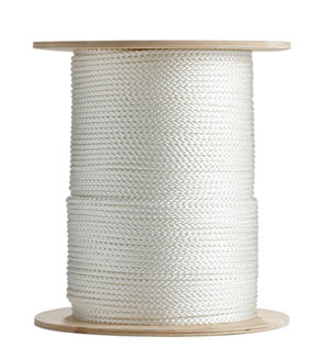 1/4 in. x 1000 ft. 8 Carrier Diamond Braid Nylon Rope - 1/4 inch x 1000 foot 8 Carrier Diamond Braid Nylon Rope. Made of high grade nylon wrapped around a synthetic core. #8 Size with 1,200 lb. Break Strength. Price/Each. (special order; min order 3 spools)